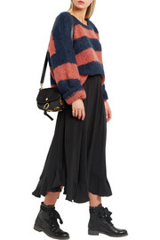 Chloé Oversized striped mohair, wool and cashmere-blend sweater
