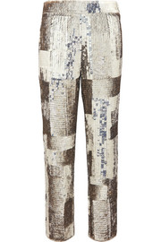 Chloé Sequined georgette straight-leg pants