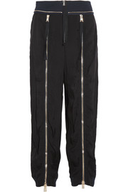 Zip-embellished crepe track pants