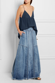 Frayed denim maxi skirt