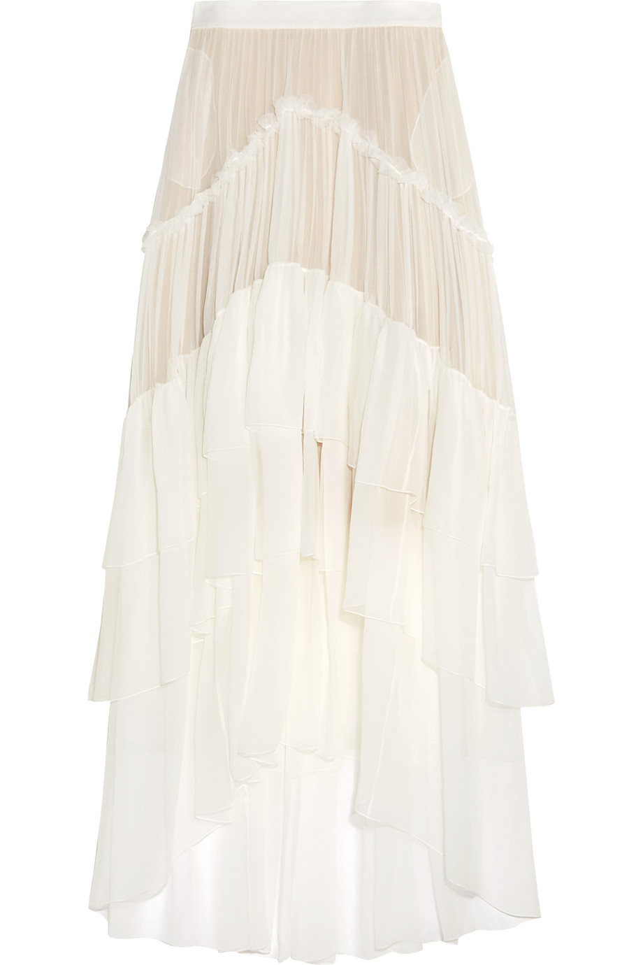 Chloé Ruffled Tiered Silk-Mousseline Maxi Skirt, Ivory, Women's, Size: 38
