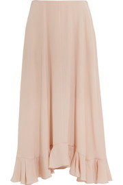 Ruffled silk-crepe maxi skirt
