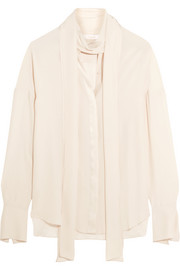 Satin-trimmed silk crepe de chine blouse