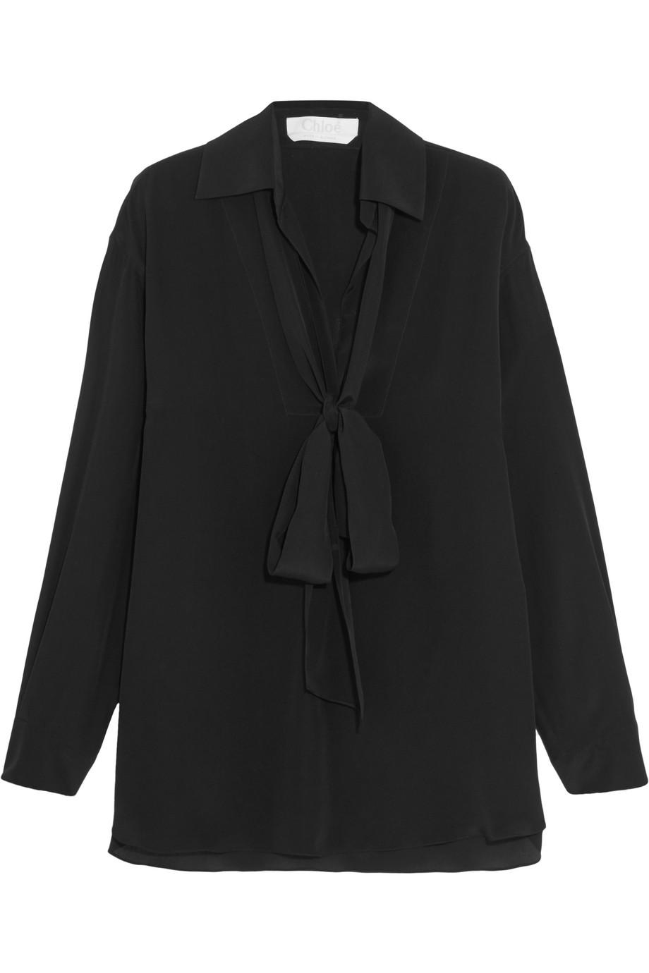 Chloé Pussy-Bow Silk-Cady Blouse, Black, Women's, Size: 34