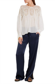 Lace-trimmed cotton-voile blouse