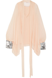Chloé Sequin-embellished silk-mousseline blouse