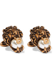 Gold-tone faux pearl cufflinks