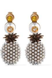 Gold-plated, faux pearl and crystal clip earrings