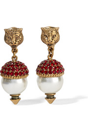 Gold-plated, crystal and faux pearl clip earrings