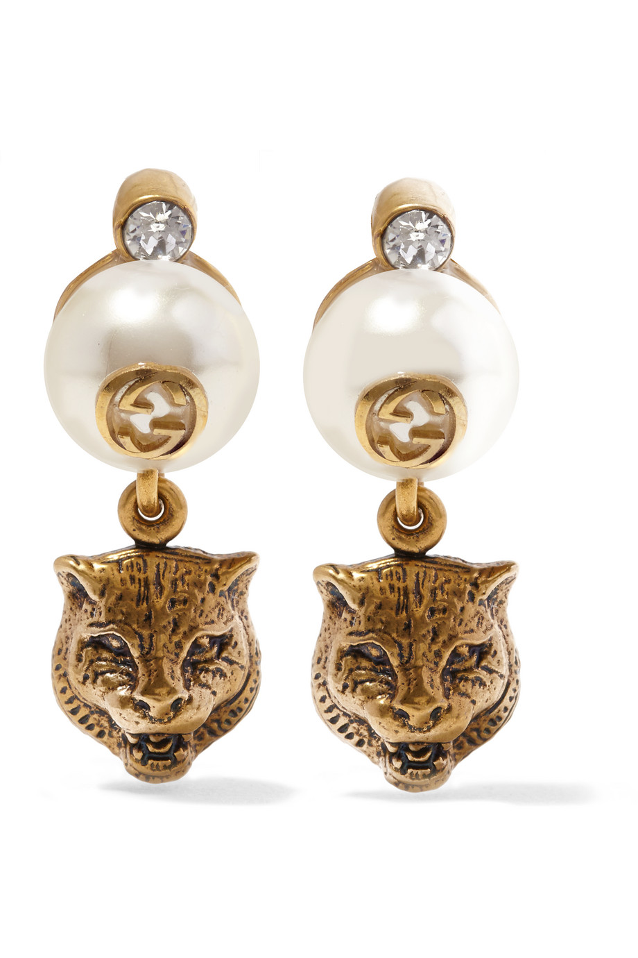 Gucci Burnished Gold-Plated, Crystal and Faux Pearl Clip Earrings
