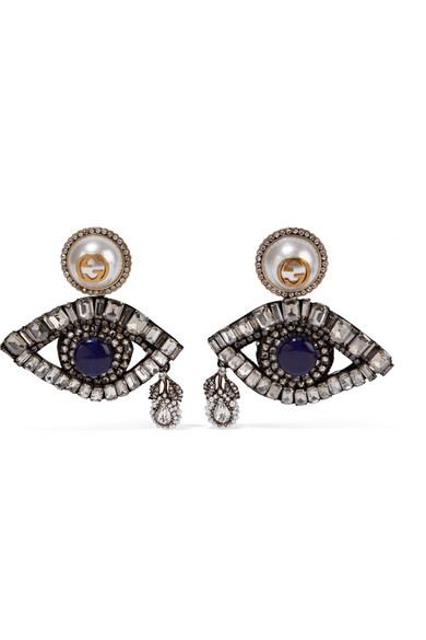 Gucci - Gold-plated, Swarovski Crystal And Faux Pearl Clip Earrings - Silver