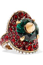 Gucci Gold-plated, Swarovski crystal and faux pearl ring