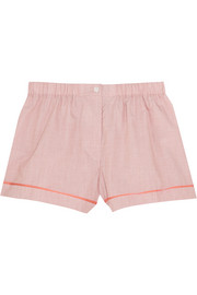 Tia silk chiffon-trimmed cotton-poplin pajama shorts