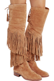 Jericho fringed suede over-the-knee boots