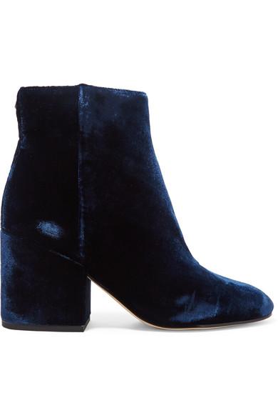 Sam Edelman - Taye Velvet Ankle Boots - Navy