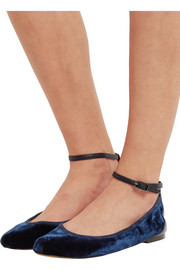 Fynn suede and leather-trimmed velvet ballet flats