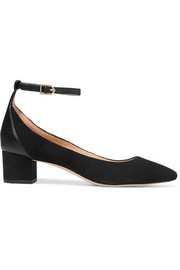 Lola leather-trimmed suede pumps