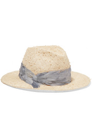 Bianca feather-trimmed woven straw fedora