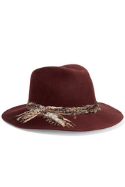 Eugenia Kim Georgina feather-trimmed wool-felt fedora