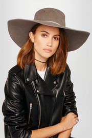 Loulou braided faux leather-trimmed rabbit-felt hat