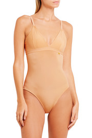 The Body pointelle-trimmed stretch-jersey bodysuit