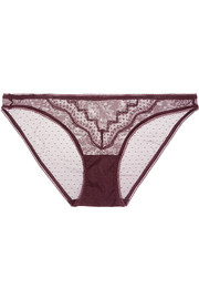 Pure stretch lace-trimmed point d'esprit tulle briefs