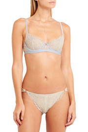 Blaze stretch-jersey trimmed Leavers lace demi underwired bra
