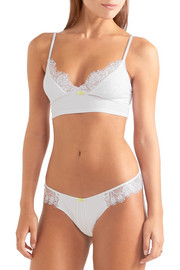 Lash lace-trimmed stretch-jersey thong
