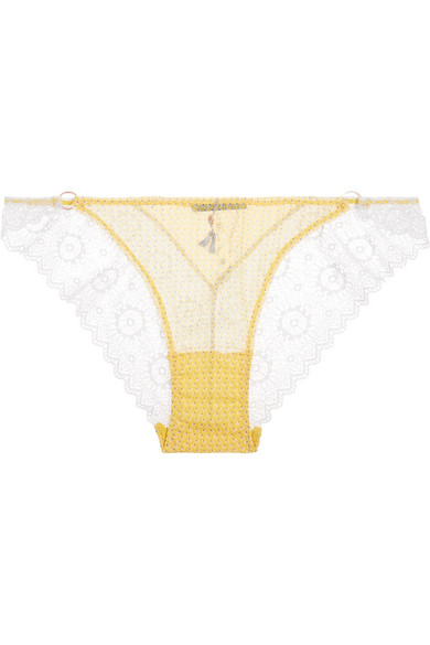 Elle Macpherson Body - Breeze French Lace-trimmed Printed Georgette Briefs - Marigold