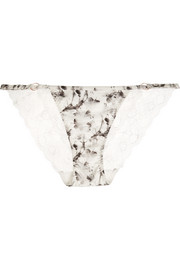 Shine printed stretch-satin and Leavers lace briefs