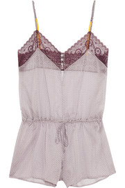 Breeze stretch lace-trimmed printed chiffon playsuit