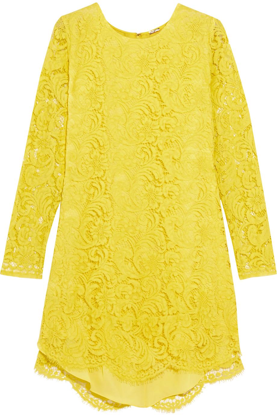 Adam Lippes Corded Lace Mini Dress, Chartreuse, Women's, Size: 10
