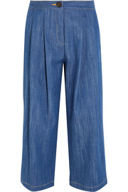 Pleated stretch-denim culottes