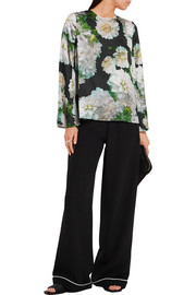 Adam Lippes Floral-print satin top