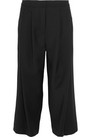 Stretch wool-blend crepe culottes