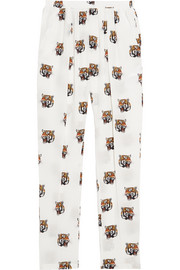 Christina printed silk-crepe tapered pants
