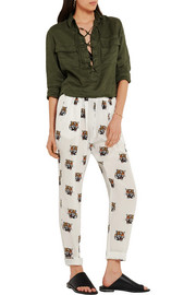 Stella McCartney Christina printed silk-crepe tapered pants