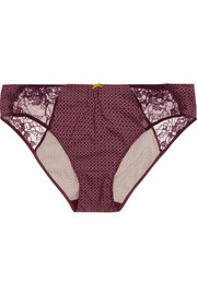 Lash lace-paneled printed stretch-jersey briefs