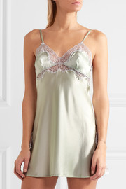 Lace-trimmed stretch-silk satin chemise