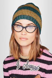 Gucci Metallic striped knitted beanie