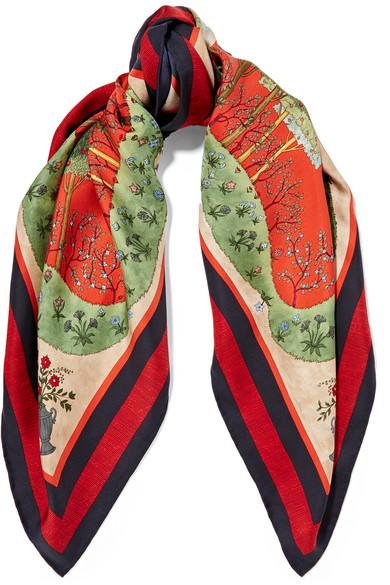 Gucci - Printed Silk-twill Scarf - Red