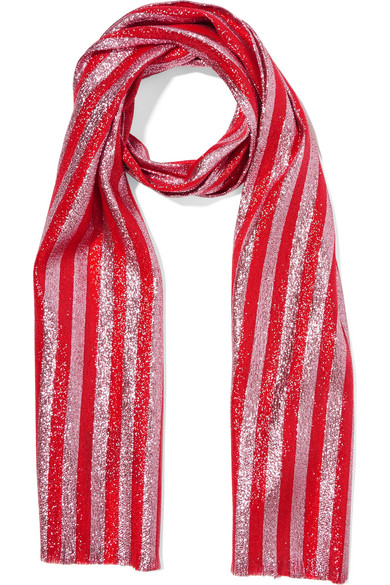 gucci female gucci striped silkblend lame scarf red