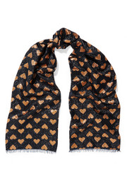Gucci Intarsia metallic knitted scarf