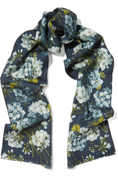 gucci female 201920 gucci reversible printed wool scarf blue