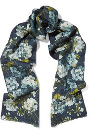 Reversible printed wool scarf