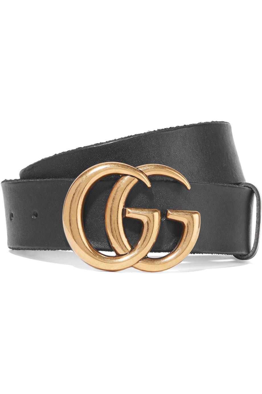 Gucci Leather Belt, Black, Women's, Size: 65