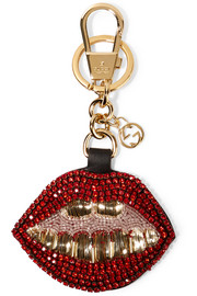 Crystal and bead-embellished leather keychain
