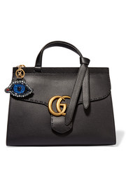 Gucci Crystal and bead-embellished leather keychain