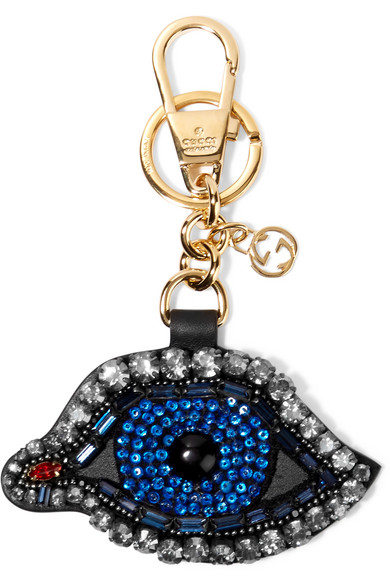 Gucci - Crystal And Bead-embellished Leather Keychain - Blue