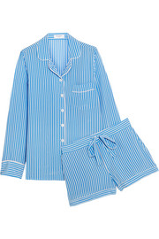 Lillian striped washed-silk pajama set